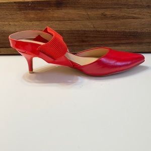 Long Tall Sally Bright Red Rebecca Slingback Heels